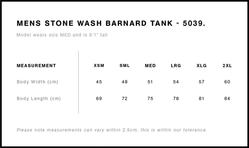 AS Colour 5039 Stone Wash Barnard Tank Mens size