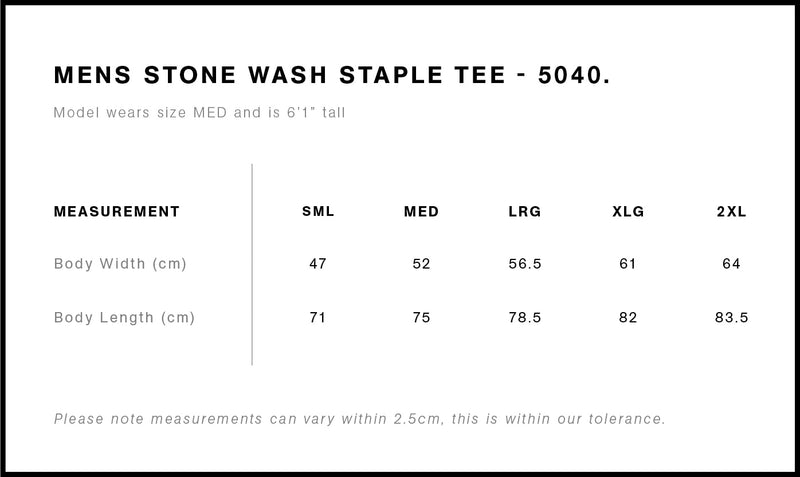 AS Colour 5040 Stone Wash Tee Mens size