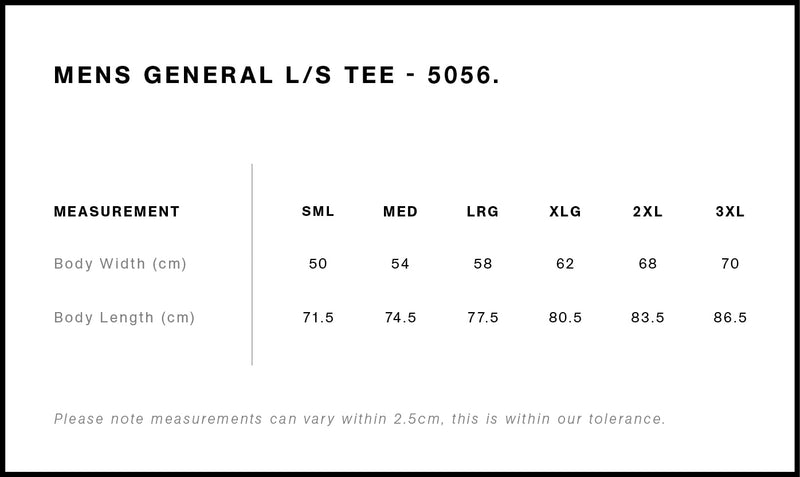 AS Colour 5056 General Long Sleeve Tee Mens size guide