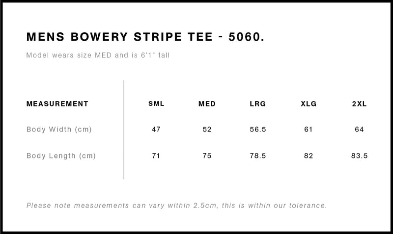 AS Colour 5060 Bowery Stripe Tee Mens size