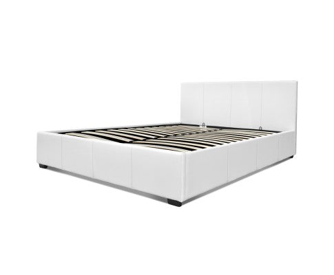 PU Leather Gas Lift Bedframe White Double
