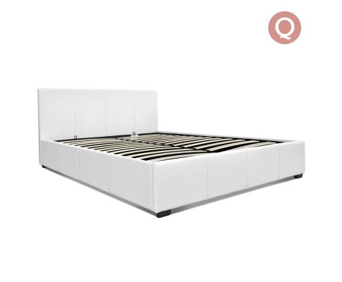 PU Leather Gas Lift Bedframe White Queen