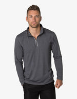 BKHZ450 1/2 Zip Long Sleeve Heather Top Mens