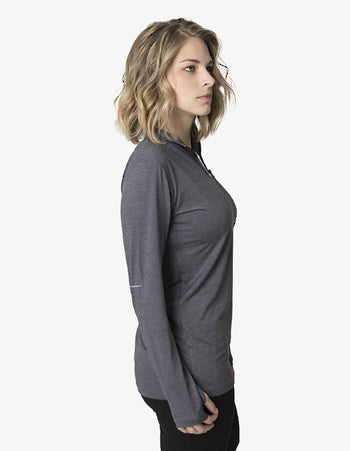 BKHZ450L 1/2 Zip Long Sleeve Heather Top Ladies 2