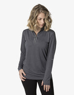 BKHZ450L 1/2 Zip Long Sleeve Heather Top Ladies