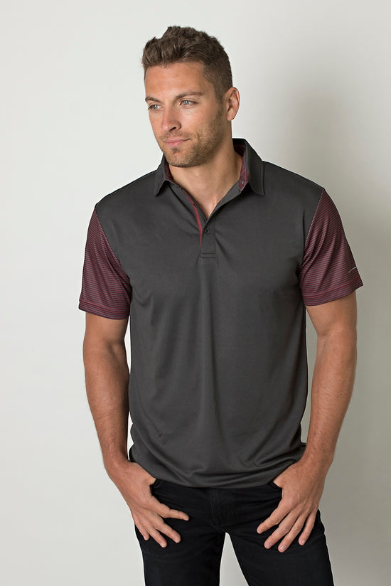 Dark Charcoal/Charcoal Heather/Deep Red Stripes