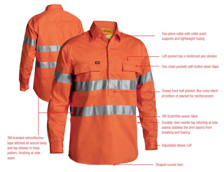 3M Taped Hi Vis Closed Front Drill Shirt - Long Sleeve
