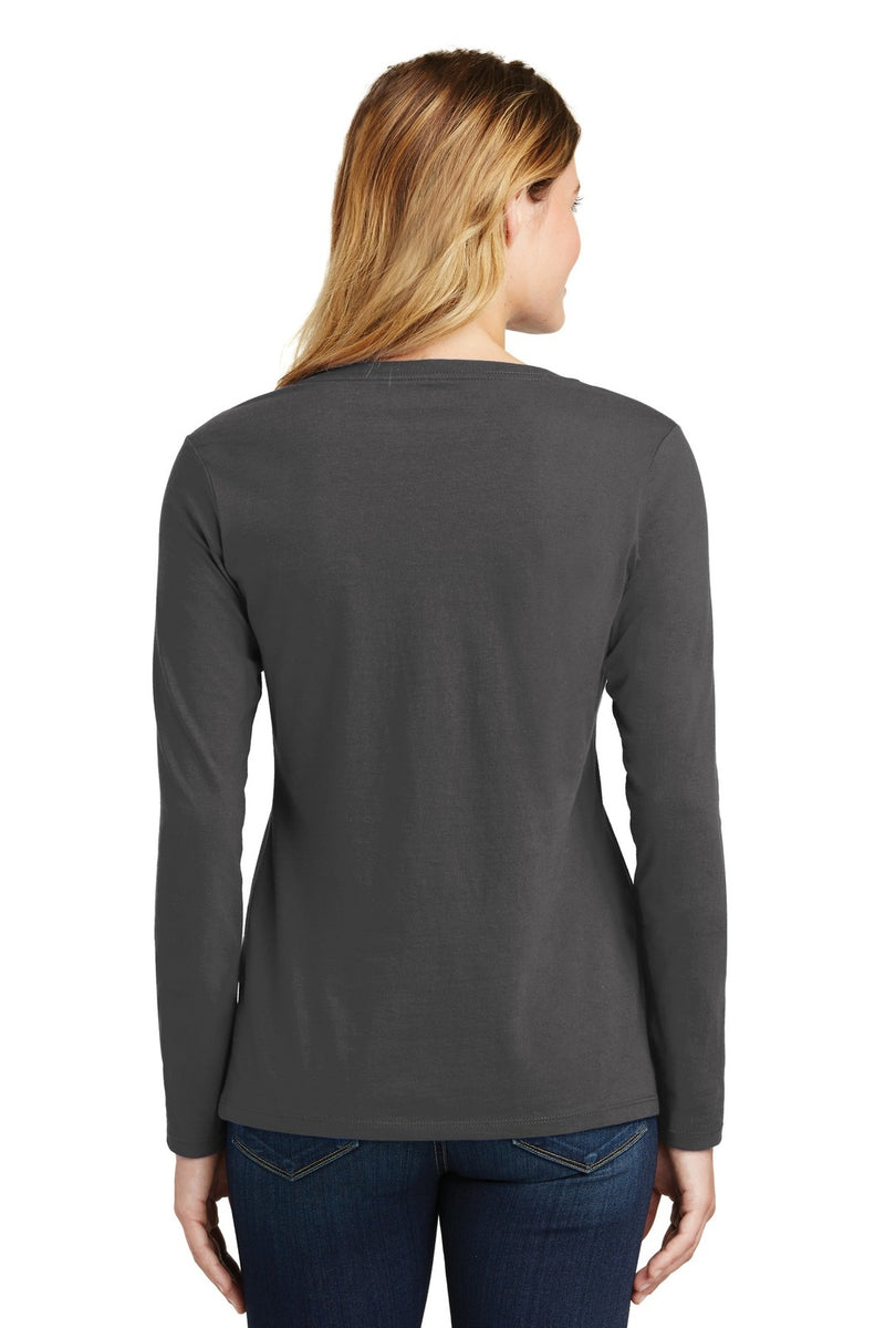 Port & Company Ladies Long Sleeve Fan Favorite V-Neck Tee. LPC450VLS rear worn