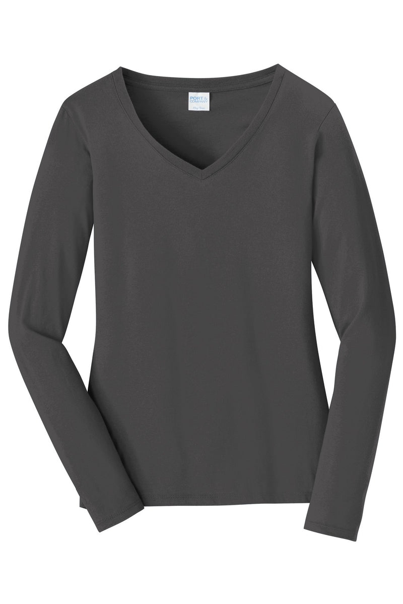 Port & Company Ladies Long Sleeve Fan Favorite V-Neck Tee. LPC450VLS front