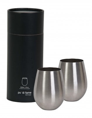 Stemless Stainless Steel Wine Glass Set