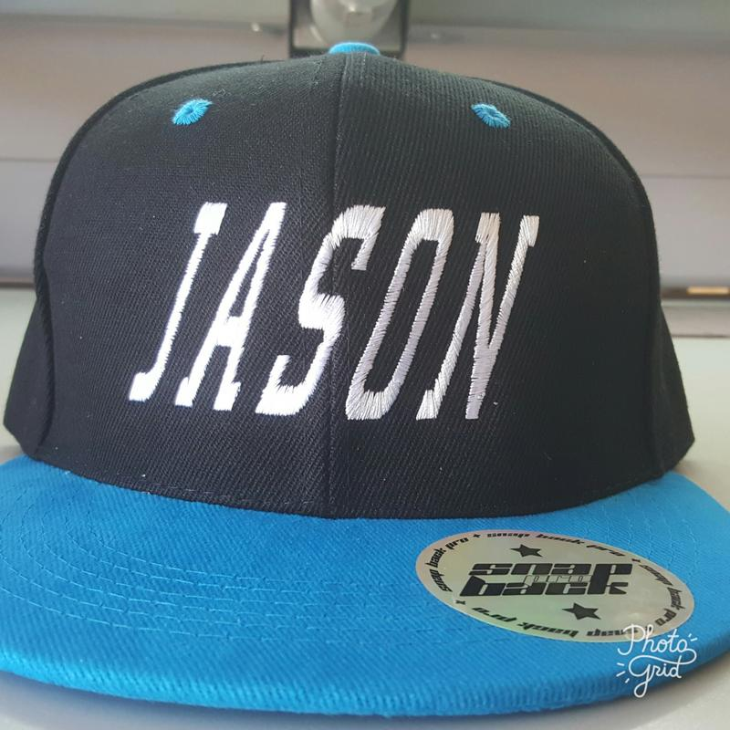 Personalised Adult Premium American Twill with Snap Back Pro Styling - EMBROIDERED WITH INDIVIDUAL NAME ON FRONT