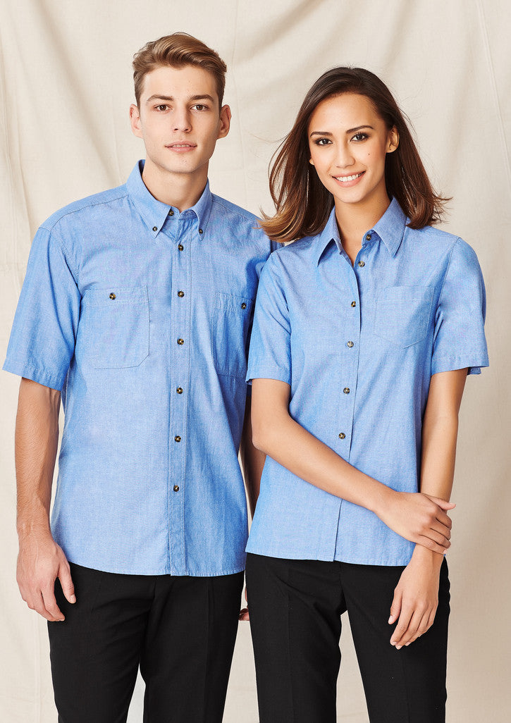 Wrinkle Free Chambray Short Sleeve Shirt Mens