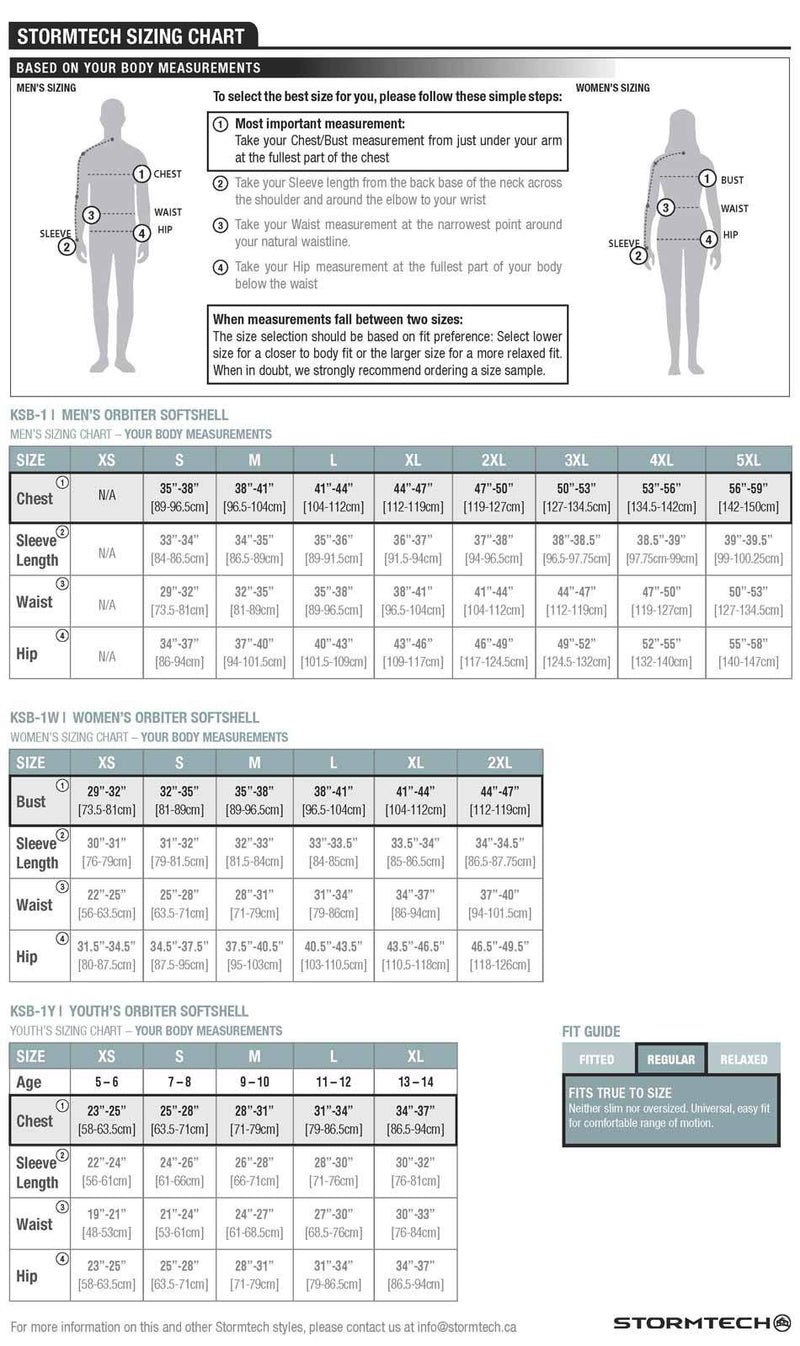 Orbiter Softshell Jackets Sizing Charts