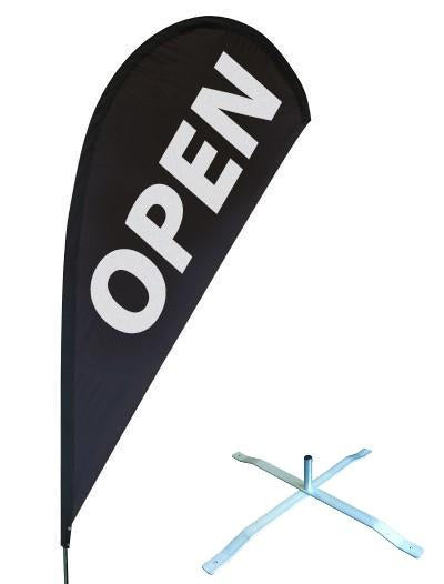 Tear Drop Banner with Swivel X Base - Double Sided - Small
