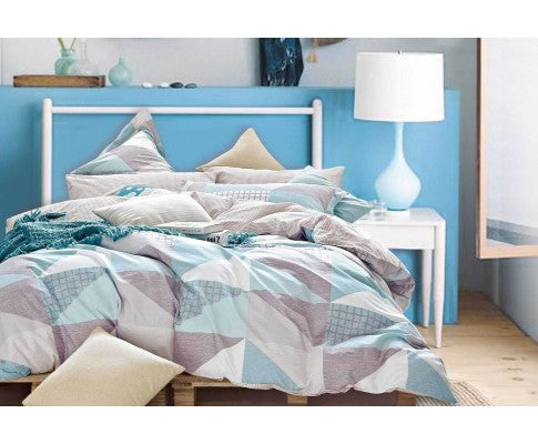 Cotton Reversible Pattern Zig Zag Quilt Cover Set (3PCS)