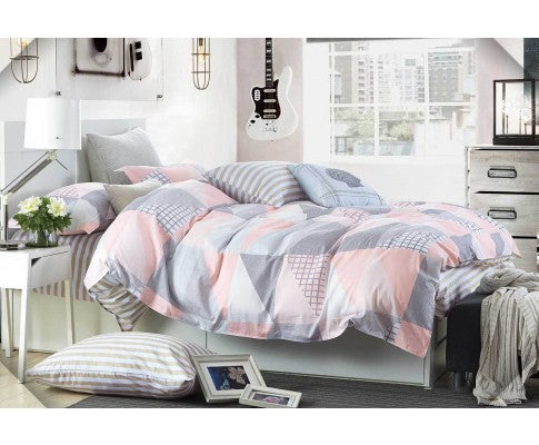 Cotton Pink Blue Zig Zag Quilt Cover Set (3PCS)