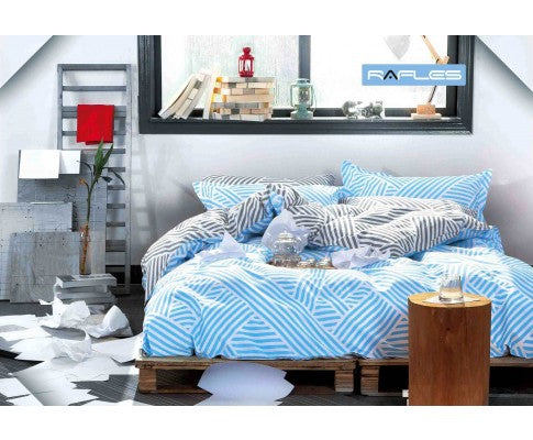 Blue Zag Reversible Quilt Cover Set(3PCS)