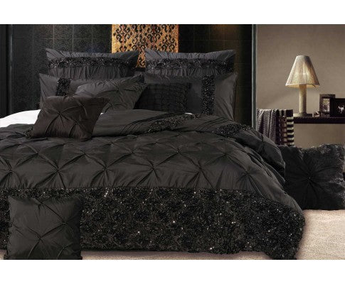 Black Floral Sequins Quilt Cover Set(3PCS)