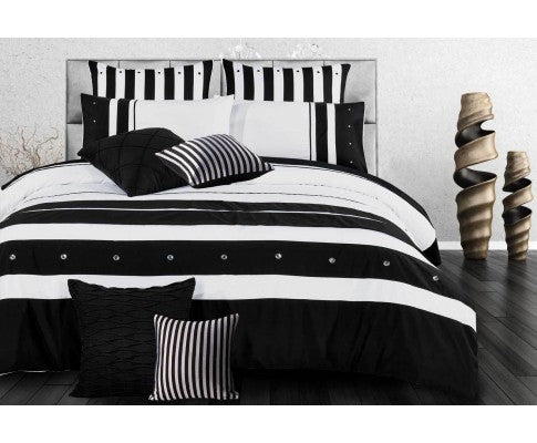 Black White Striped Quilt Cover Set(3PCS)