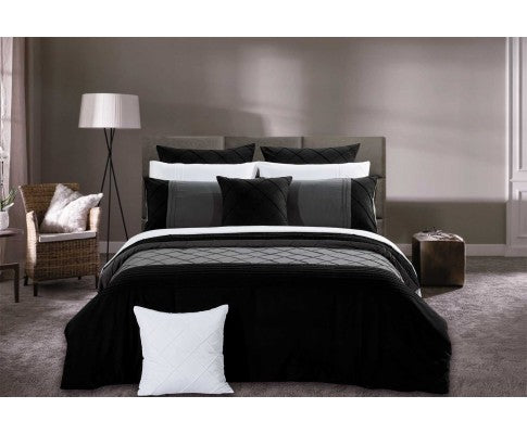 Black Diamond Pintuck Quilt Cover Set(3PCS)