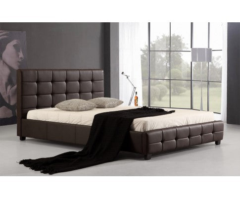 Palermo PU Leather Queen Bed Frame and Button Tufted Headboard— Brown