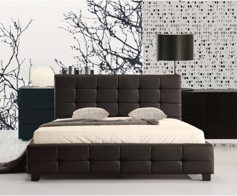 Palermo PU Leather Queen Bed Frame and Button Tufted Headboard— Black