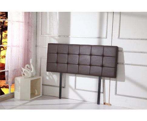 PU Leather Queen Bed Deluxe Headboard Bedhead - Brown