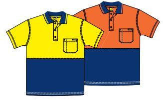 Kids Hi Vis Two Tone Short Sleeve Polo with Pocket