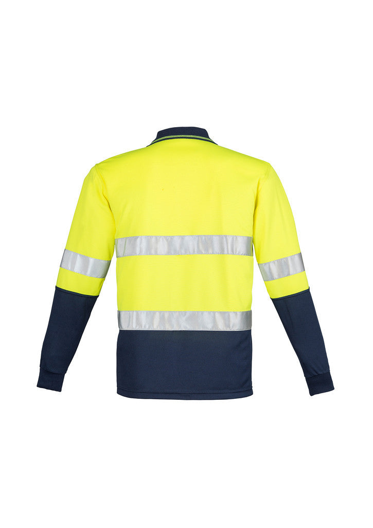 Mens Hi Vis Spliced Polo - Long Sleeve Hoop Taped