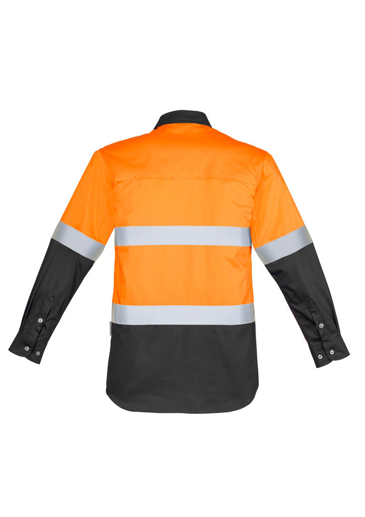 SYZMIK ZW123 Mens Hi Vis Spliced Industrial Shirt - Hoop Taped REAR