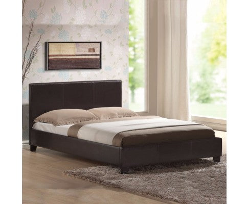 Mondeo PU Leather Queen Brown Bed