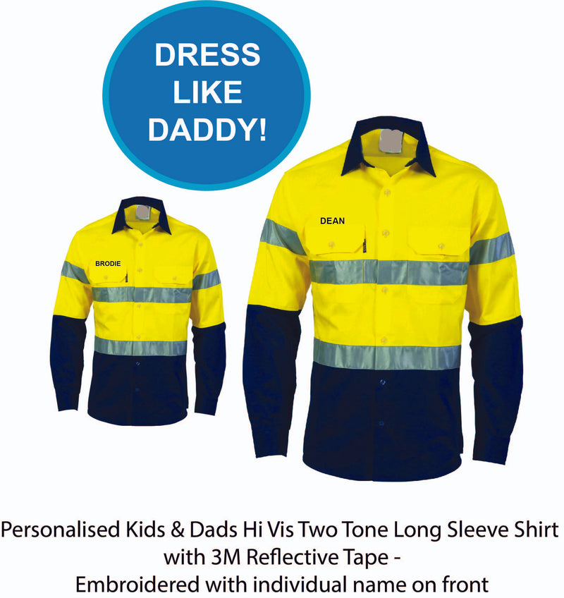 Personalised Dads & Kids Hi Vis Two Tone Long Sleeve Shirt with 3M Reflective Tape - Embroidered with individual name (Front RHB) - 2 PACK