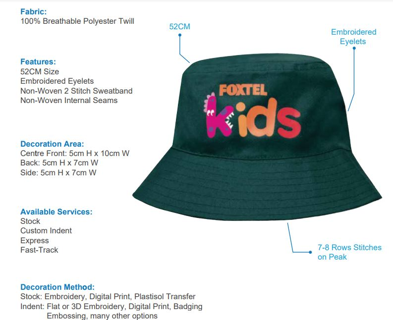 HS-3938 Breathable Poly Twill Infants Bucket Hat spec sheet