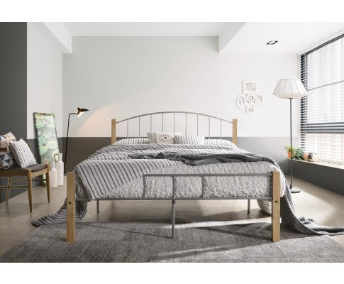 Bed frame w/ solidwood post in Natural + Silver - Queen
