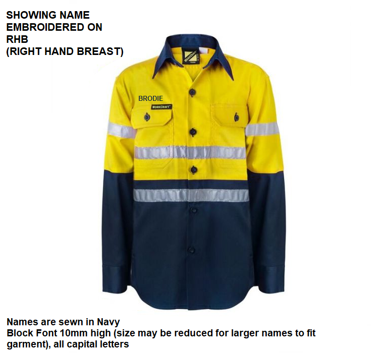 Personalised Kids Hi Vis Two Tone Long Sleeve Shirt with 3M Reflective Tape - Embroidered with individual name (Front RHB)