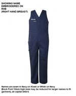 Personalised Kids Cotton Drill Overalls - Embroidered with individual name (Front RHB)