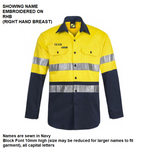 Personalised Dads Hi Vis Two Tone Long Sleeve Shirt with 3M Reflective Tape - Embroidered with individual name (Front RHB)