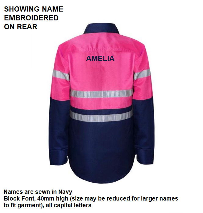 Personalised Kids PINK Hi Vis Two Tone Long Sleeve Shirt with 3M Reflective Tape - Embroidered with individual name (Large on REAR)