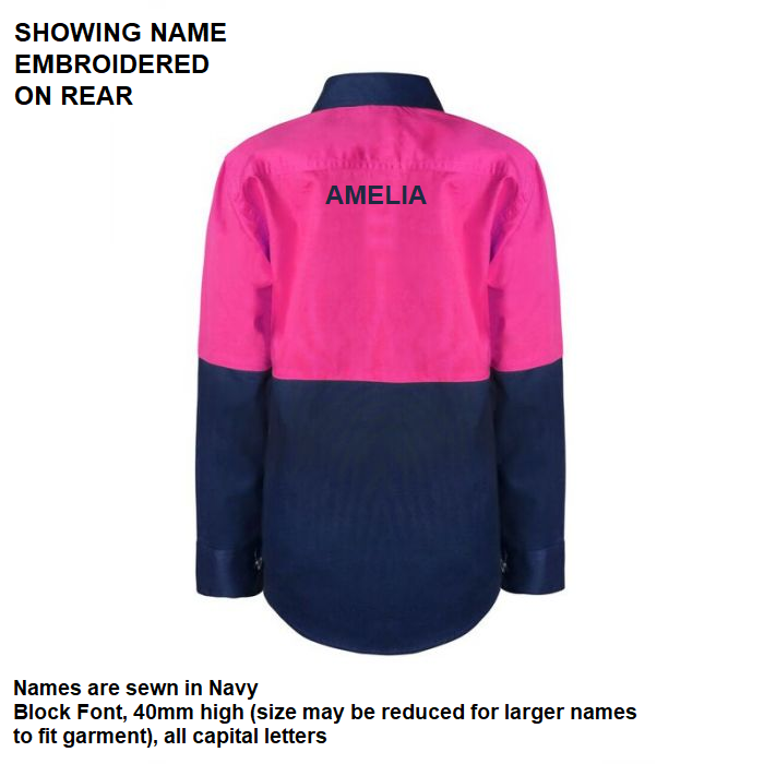 Personalised Kids PINK Hi Vis Two Tone Long Sleeve Shirt - Embroidered with individual name (Large on REAR)