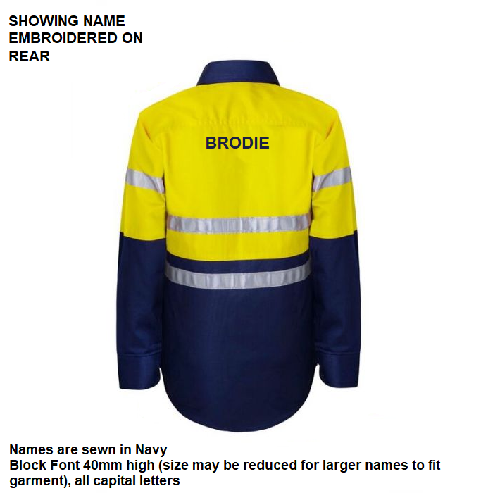 Personalised Kids Hi Vis Two Tone Long Sleeve Shirt with 3M Reflective Tape - Embroidered with individual name (Large on REAR)