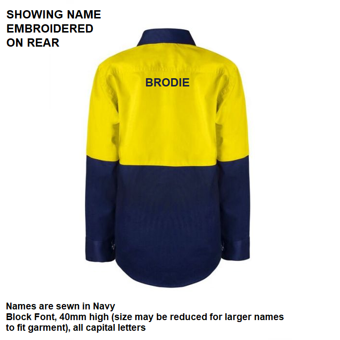 Personalised Kids Hi Vis Two Tone Long Sleeve Shirt - Embroidered with individual name (Large on REAR)