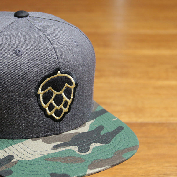 felt appliqué embroidery flat bill snapback camo heather