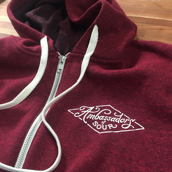 screen printed zip hoodie rare barrel ambassador of sour