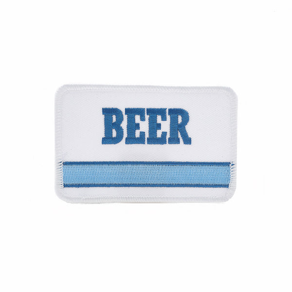 BEER patch 80s generic blue stripe 1978