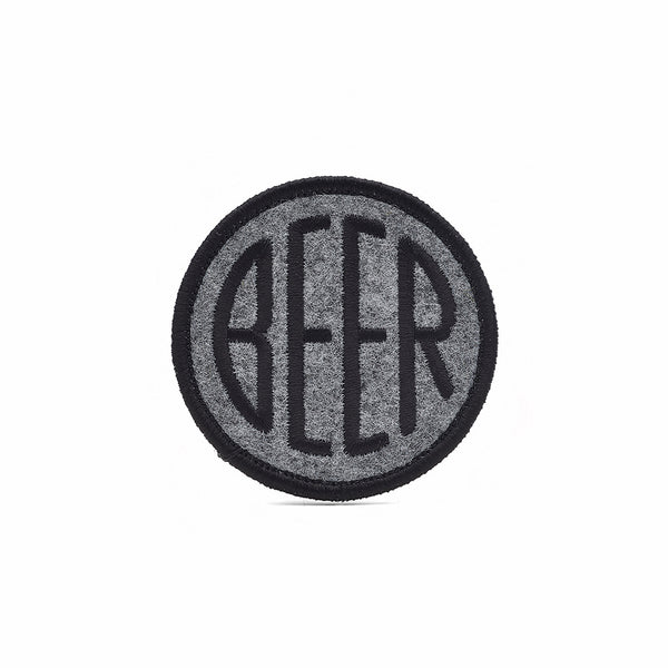 BEER patch dot design embroidered on heather felt background