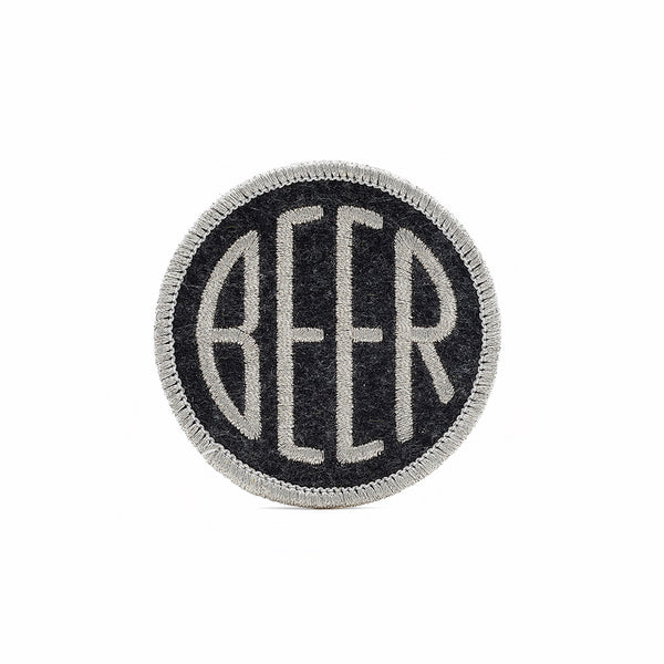 BEER patch dot design metallic embroidery on black heather felt background