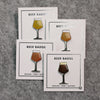 BEER enamel pin teku glass set. Beer badge flight of four. One of each colorway