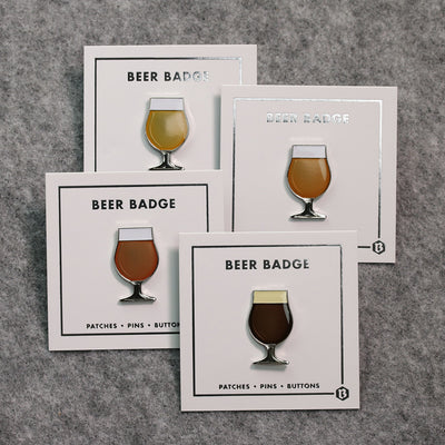 BEER enamel pin tulip glass set. Beer badge flight of four. One of each colorway