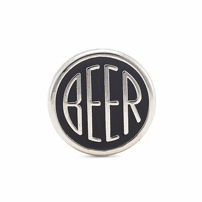 BEER enamel pin. This beer dot design beer badge lapel has matte black soft enamel & bright nickel finish