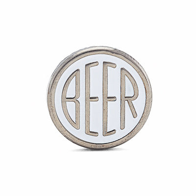 BEER enamel pin. This beer dot design beer badge lapel has matte white soft enamel & black nickel finish